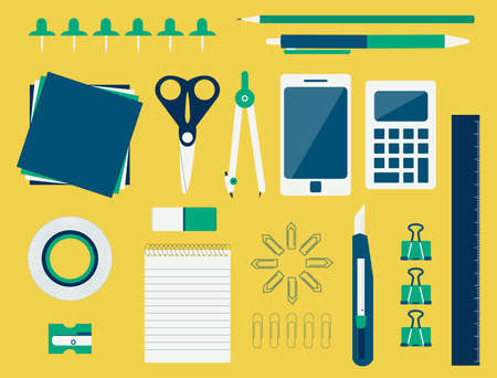 Collection of various office supplies like scissors, pencil, pen, compass, stiletto, calculator, mobile, ruler, masking tape, paper clips, pencil sharpener, copybook, papers and pins  flat design