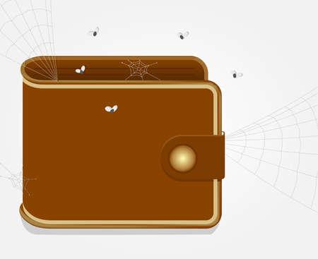 Empty wallet, no money, with cobwebs and flies Vector
