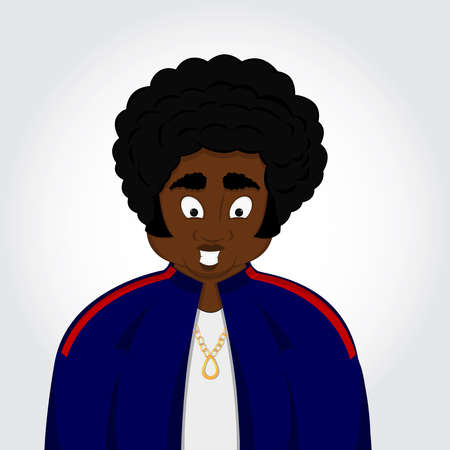 descent: Black man with a black power hair  African descent isolated in a white background