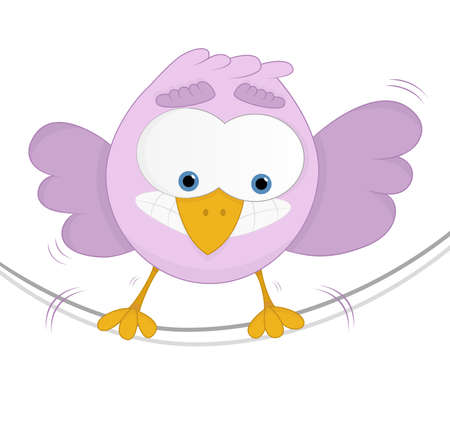 high tension: Funny bird with a fear of heights and unbalancing on a rope  White background