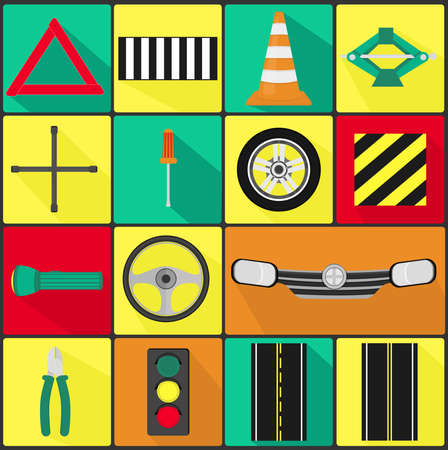 signaling: 15 items car, security and traffic  Illustration