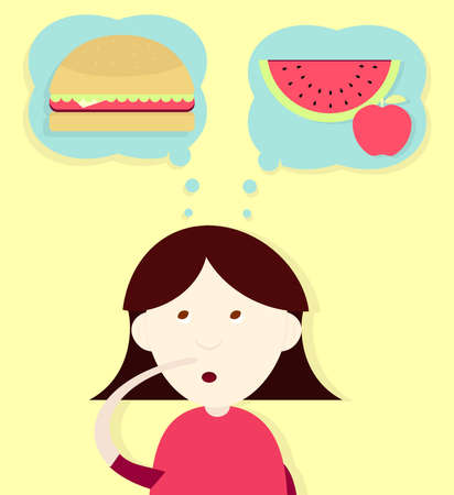 watermelon woman: Girl thinking and deciding to eat a sandwich or fruit