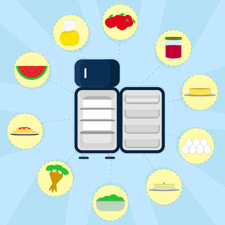 Empty refrigerator and various types of food around  Apple, jam, butter, eggs, cake, bowl with lettuce, carrots, pasta, watermelon, pitcher of juice  Vector