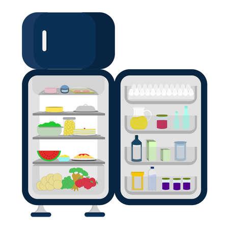 Aprire e frigo pieno di cibo come carote, mele, lattuga, anguria, cheesecake, succo isolato su uno sfondo bianco