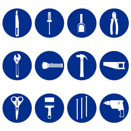 Tools blue and white icons with wrench, screwdriver, flashlight, pliers, drill, saw, nails, hammer, stiletto, scissors, brush, tape Иллюстрация