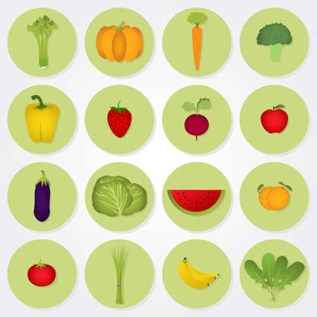 Sixteen circular icons of fruits and vegetables  celery, pumpkin, carrots, broccoli, bell pepper, strawberry beets, apples, eggplant, cabbage, watermelon, orange, tomato, green onion, banana, arugula