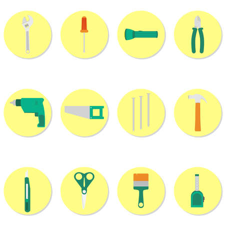 Tools icons with wrench, screwdriver, flashlight, pliers, drill, saw, nails, hammer, stiletto, scissors, brush, tape Иллюстрация