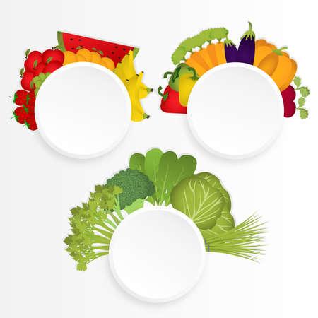 Tres círculos de los grupos de alimentos de frutas, legumbres y verduras, Espacio