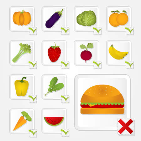 unhealthful: Checkbox with healthy food and unhealthy  Fruits, vegetables and burger