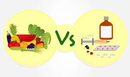 remedies: Prevent or remedy  Benefits of fruits and vegetables in the diet versus allopathic remedies  Illustration