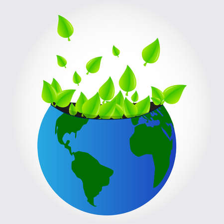 Leaves of trees coming out of the planet earth  Vector