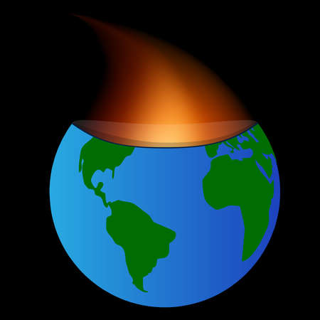 Fire coming from within the core of the planet earth  Vector