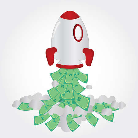Rocket taking off and freeing up cash  Vector