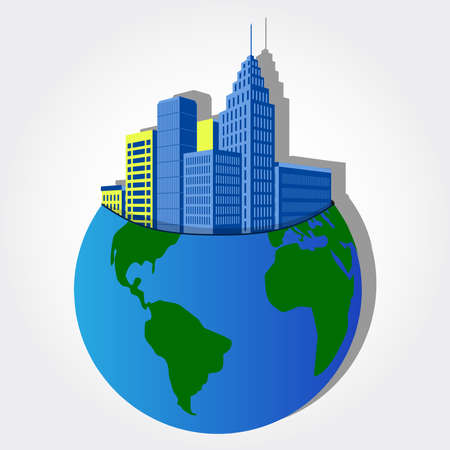 DOWN TOWN: Big blue buildings rising from within the planet earth  Illustration