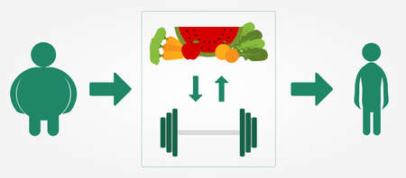 slimming: Schematic slimming process  Healthy lifestyle with a balanced diet and physical exercise  Illustration