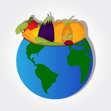 Vegetables on the planet like a bowl  Vector