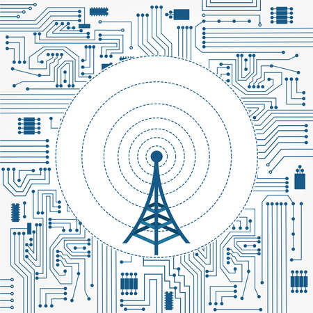 communication tower: Electronics circuit background with a communication tower in the center