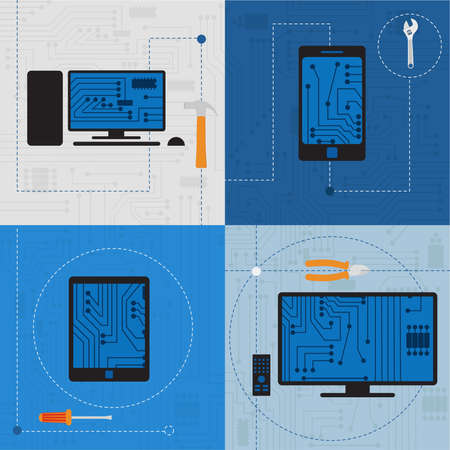 Electronic circuit of technological devices like tablet, smarthphone, tv, personal computer, plus tools  Vector