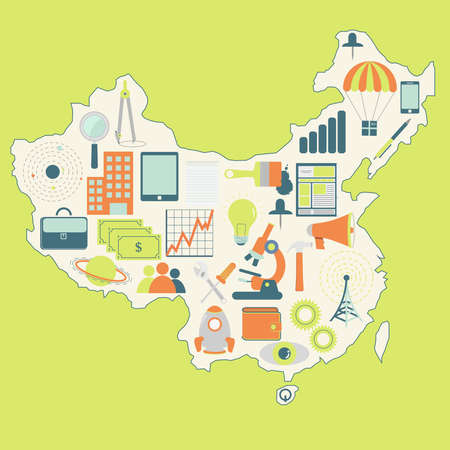 Contour map of China with icons of technology, business, science, communication Vector