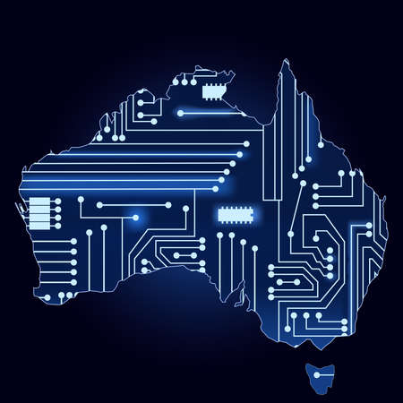 Contour map of australia with a technological electronics circuit  矢量图像