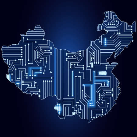 Contour map of China with a technological electronics circuit  일러스트