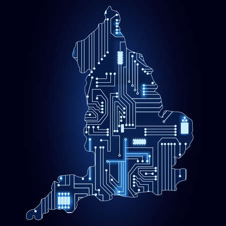 british isles: Contour map of England with a technological electronics circuit