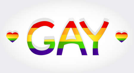 Gay stylized word with rainbow and two heart