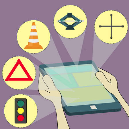 choosing items of traffic in tablet  car warning triangle, semaphore, traffic light, Traffic cone, Car Jack, Cross Lug Wrench  Surfing the tablet  Vector