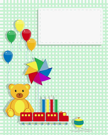 spinning top: Invitation card for kids with cartoon teddy bear, toy train,  pinwheel, crayons and spinning top  Copy space