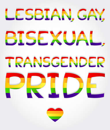 sex discrimination:  Lesbian, gay, bisexual, transgender pride  phrase stylized with rainbow and one heart Illustration