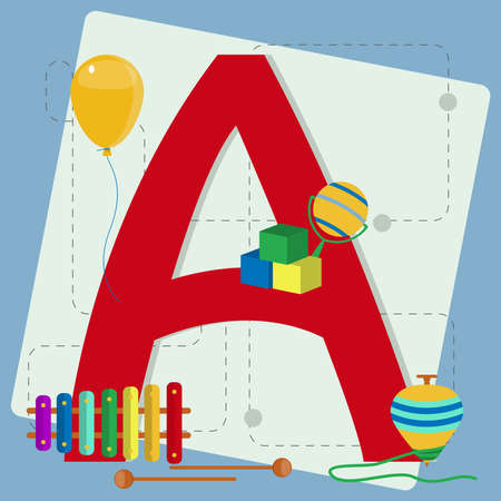 Letter  a  from stylized alphabet with children s toys  xylophone, instrument, spinning top, balloon, cube toy, rattle Vector