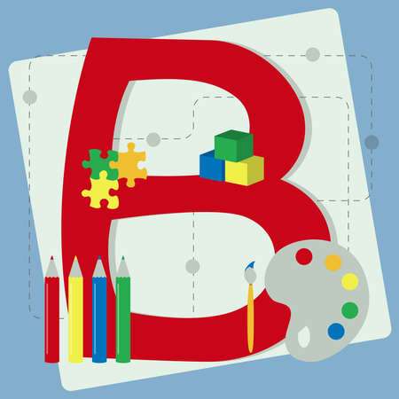 colored pencils: Letter  b  from stylized alphabet with children s toys  brush, watercolor, colored pencils, cubes toy, puzzle