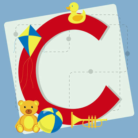 s horn: Letter  c  from stylized alphabet with children s toys  teddy bear, toy ball, toy horn, rubber ducky, kite