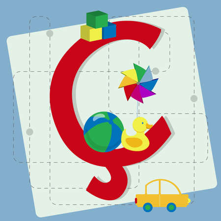pinwheel toy: Letter  cedilla  from stylized alphabet with children s toys  ball, rubber ducky, cube toy, pinwheel, toy car