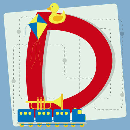 ducky: Letter  d  from stylized alphabet with children s toys  toy train, rubber ducky, toy horn, kite