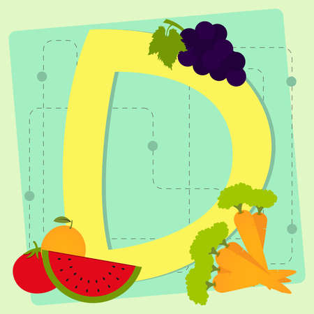 ornage: Letter  d  from stylized alphabet with fruits and vegetables - grape, carrots, watermelon, ornage, tomato