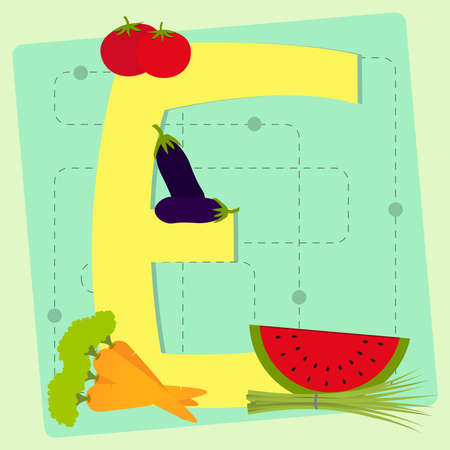 chive: Letter  e  from stylized alphabet with fruits and vegetables - tomato, watermelon, eggplant, carrots, chive