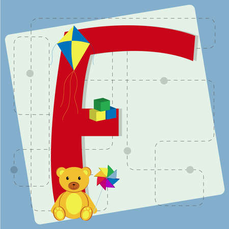 Letter  f  from stylized alphabet with children s toys  cubes toy, kite, teddy bear, pinwheel Vector