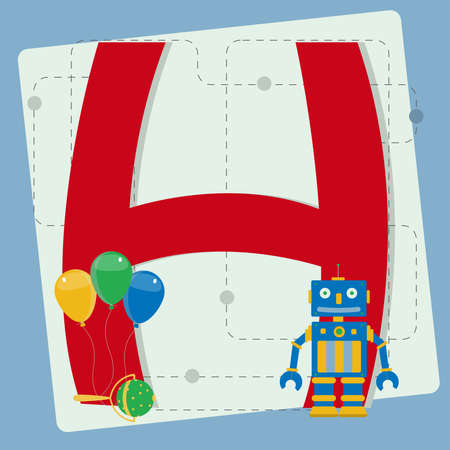 Letter  h  from stylized alphabet with children s  robot toy, colorful balloons, rattle Vector