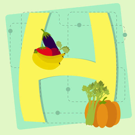 pumpkin tomato: Letter  h  from stylized alphabet with fruits and vegetables  eggplant, tomato, banana, beet, celery, pumpkin