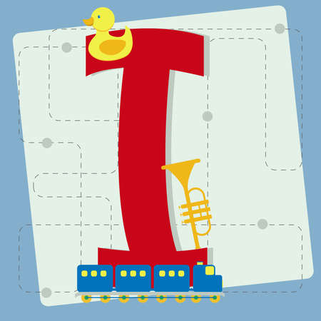 rubber ducky: Letter  i  from stylized alphabet with children s  toy horn, instrument, rubber ducky,  toy train