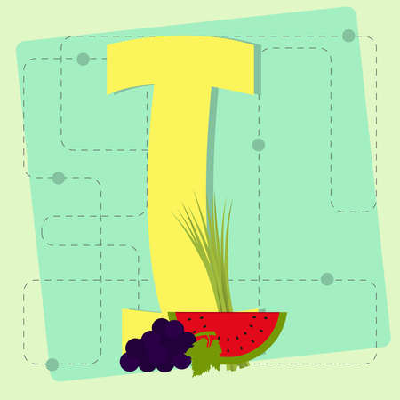 chive: Letter  i  from stylized alphabet with fruits and vegetables  grape, watermelon, chive Illustration