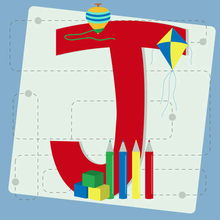 spinning top: Letter  j  from stylized alphabet with children s  spinning top, kite, colored pencils, cubes toy, crayons