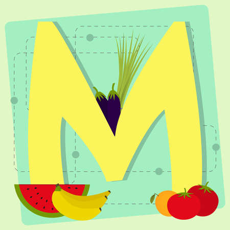 chive: Letter  m  from stylized alphabet with fruits and vegetables  eggplant, chive, watermelon, banana, orange, tomato