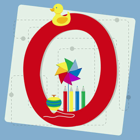 pinwheel toy: Letter  o  from stylized alphabet with children s  rubber ducky, pinwheel, crayons, colored pencils, spinning top Illustration