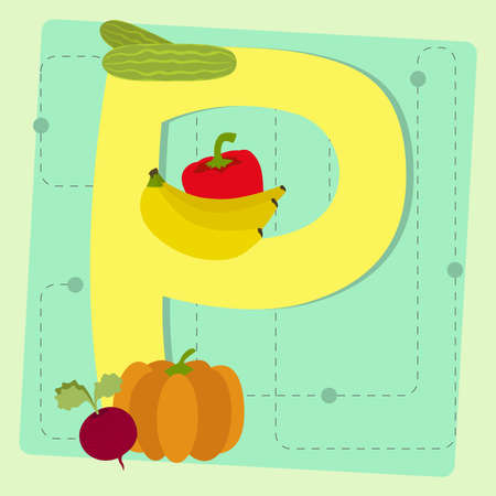 Letter  p  from stylized alphabet with fruits and vegetables  banana, cucumber, pepper, pumpkin, beet Vector