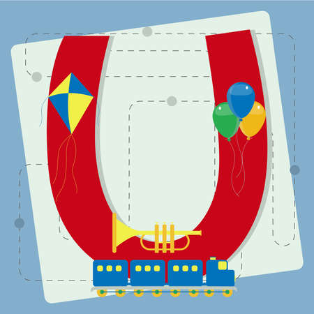s horn: Letter  u  from stylized alphabet with children s  kite, toy train, colorful balloons, toy horn  Illustration