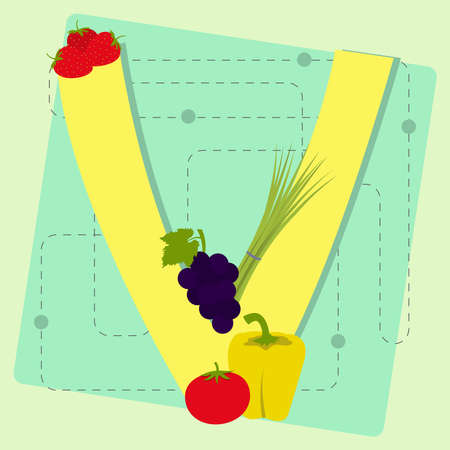 chive: Letter  v  from stylized alphabet with fruits and vegetables  grape, chive, strawberry, pepper, tomato