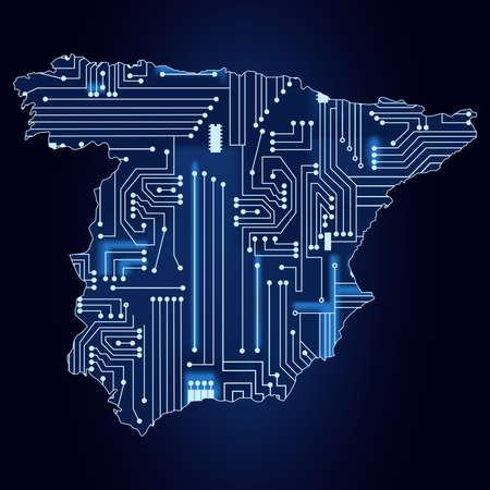 기술 전자 회로와 스페인의 윤곽지도 일러스트