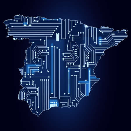 Contour map of Spain with a technological electronics circuit